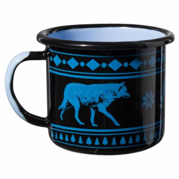 Emaille Tasse Wolf 0,35 L blau